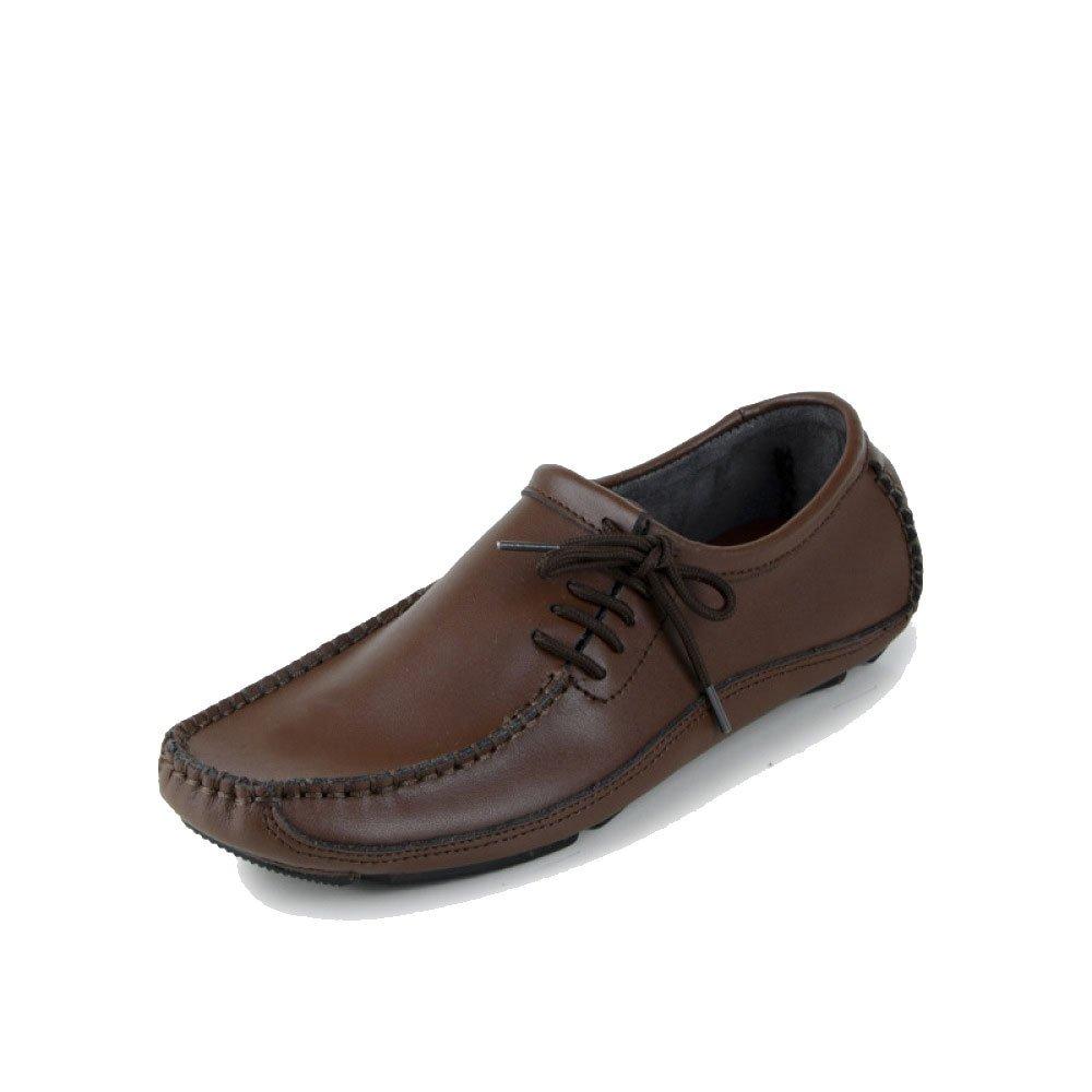 Leder-Schuhe der Zufälligen Männer Beschuht und Einzelnes Breathable Beleg-auf Art- und Beschuht Weisegeschäft Braun bea320