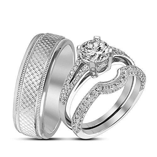 Smjewels 14k White Gold 925 Silver 1.10 Ct Diamond Bride & Groom Wedding Trio Ring Set