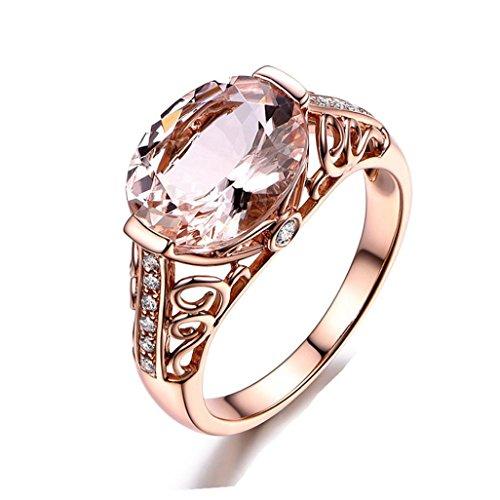 (Challyhope Women's Girl's Love Cubic Gemstone Rings Morgan Stone Ring Rose Wedding Band (9, Rose Gold))