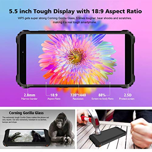 Rugged Cell Phone Unlocked OUKITEL WP5, 8000mAh Battery, Android 10.0 Rugged Smartphone,5.5 Inch 4GB RAM+32GB ROM,IP68 Waterproof Shockproof Phone with 4 LED Flashlights,Triple Camera,Dual SIM 4G