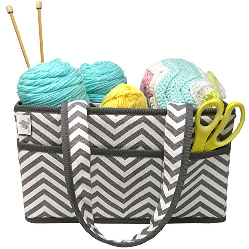 by Little Grey Rabbit | Knitting Storage Bin & Organizer Basket | Holds Yarn, Needles, Tape, More | Perfect Gift | White & Gray Chevron (Grey Chevron) (Deluxe Organizer Tote Bag)