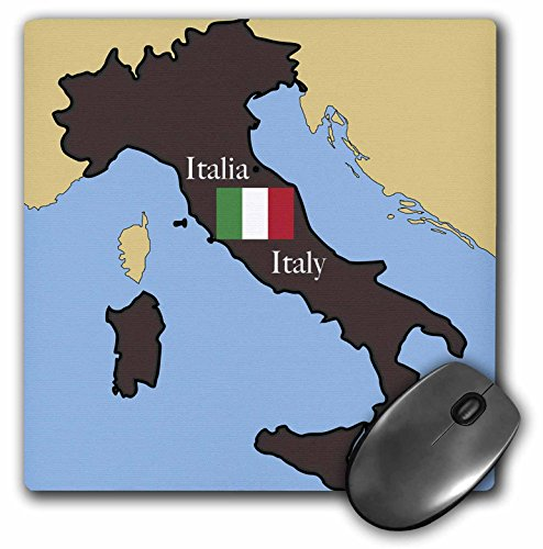 3dRose LLC 8 x 8 x 0.25 Inches Mouse Pad, The Map and Flag of Italy (mp_37591_1)