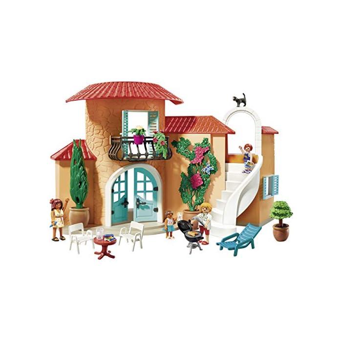 Diversión para los pequeños amantes del sol: Chalet PLAYMOBIL con muchas figuras, animales y una amplia gama de accesorios para jugar Fantásticas horas de diversión gracias a los detalles coloridos, Encantadores muebles y mucho más, Desmontables y ensamblables Juego de figuras para niños a partir de 4 años: adecuado para el tamaño de sus manos y bordes redondeados agradables al tacto