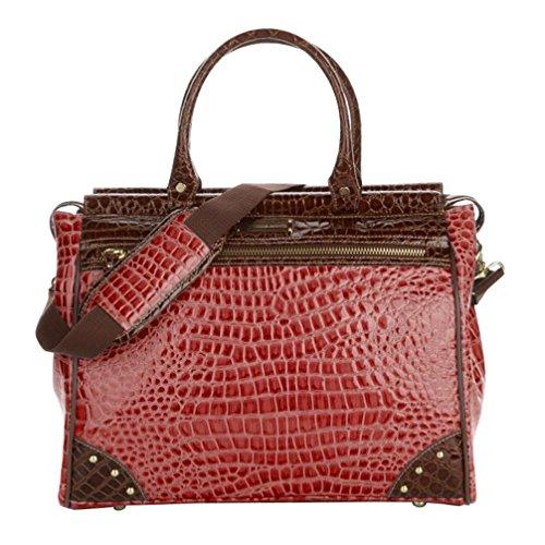 Samantha Brown Classic Dowel Bag Carry On Luggage Burgundy