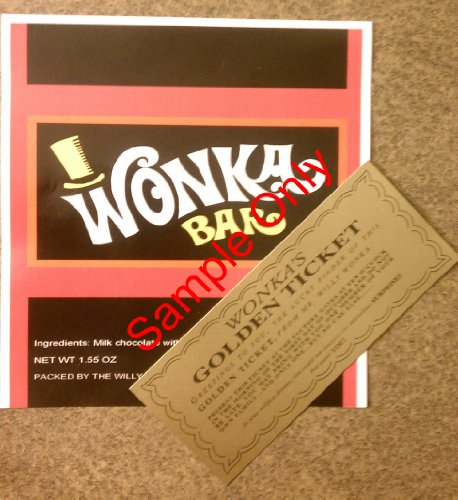 1.55 oz. Willy Wonka chocolate bar wrapper & golden ticket-Mini - no chocolate included
