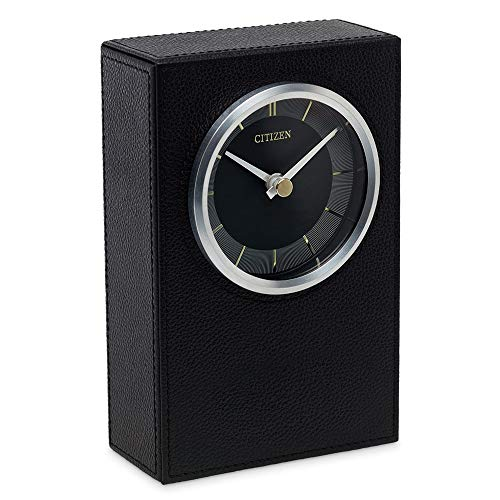 Citizen Decorative Black Leather Table or Desk Clock CC1014