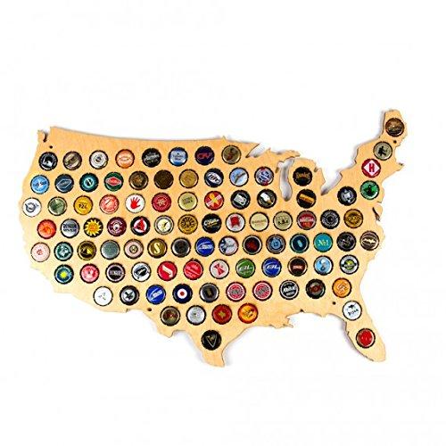 Kimler USA Beer Cap Map. Holds 76 Bottle Caps! Two Feet - Bottle Frame Cap
