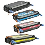 Toner Tech- High Yield Remanufactured OEM Toner Cartridge Replacement (Q6470A,Q6471A,Q6472A, Q6472A) for HP 501A/ HP 3600 (Complete Set)