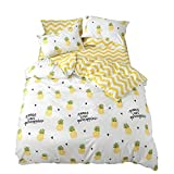 EnjoyBridal Kids Bedding Sets Twin Pineapple Print Cotton Duvet Cover Sets Twin for Teens Kids White Yellow Quilt Comforter Cover Twin 3 Pieces Bedding Collection,No Comforter