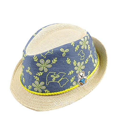 [Kids Straw Hat Casual Summer Sun Visor Hat Children Hawaiian Pattern Hat, Yellow] (Sailor Straw Hat)