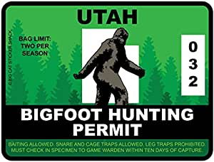 Bigfoot Hunting Permit - UTAH (Bumper Sticker)