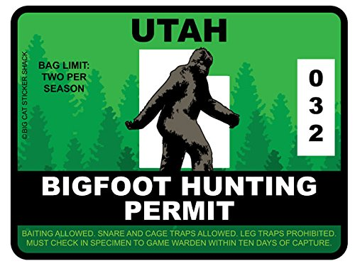 Bigfoot Hunting Permit - UTAH (Bumper Sticker)