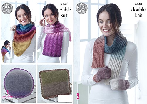 King Cole Ladies Double Knitting Pattern Mittens Scarf Lace or Triangular Wrap & Cushions (5148)