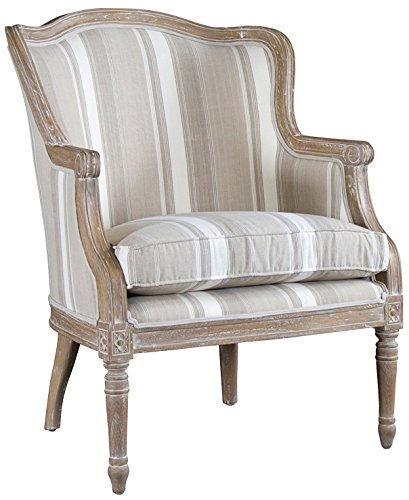 Baxton Studio Striped Charlemagne Traditional French Accent Chair, Oak Brown (Chair Accent Oak Finish)