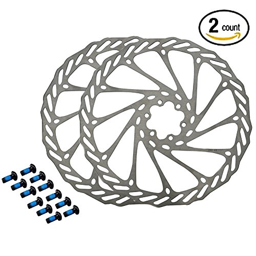 Gymforward 2pcs Mountain Bike Rotors G3 Bicycle Brake Disc Stainless Steel Rotors with Free 12 Bolts (180MM)