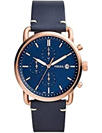 Men's 'The Commuter' Quartz Stainless Steel and Leather Casual Watch, Color:Blue (Model: FS5404)