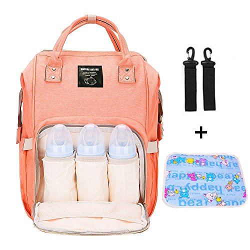 Mastery Baby Diaper Bag Backpack - Large Capacity Waterproof Travel Mommy Nappy Bags with Changing pad and Stroller Straps - Stylish and Durable Organizer for Women, Toddler and Newborn (Orange Pink) for $<!--$29.99-->
