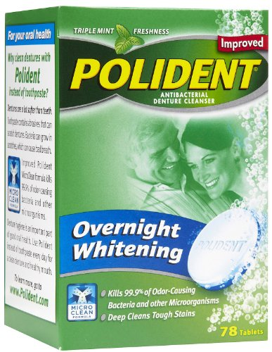 Polident Overnight Whitening, Antibacterial Denture Cleanser Tablets, 78-Count Boxes (Pack of 3) by Polident