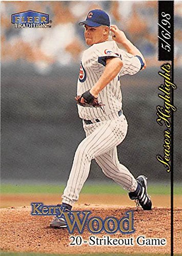 Kerry Wood baseball card (Chicago Cubs All Star) 1998 Fleer Tradition #U5 20 Strikeouts Chicago Cubs Kerry Wood