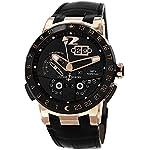 Ulysse Nardin El Toro Men's Black Leather Strap Automatic Perpetual Calendar Rose Gold Watch 326-03