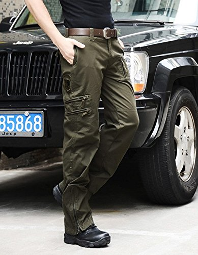 Heng Heng - Outdoor clothing men's trousers of the 101th airborne army green paratroopers camouflage pants 3 colors (COLOR :ARMY GREEN | SIZE : 27)