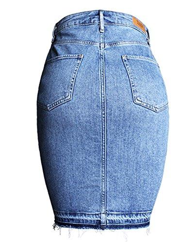 Mode Dcontractes Skirt Denim Robe Casual Courtes Femmes Bleu gqSdxw4gH