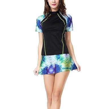 06a7bb148d xzbailisha New Muslim Women Swimsuit Modest Islamic Swim Suit 2 Pieces  Short Sleeve Tops and Skirt