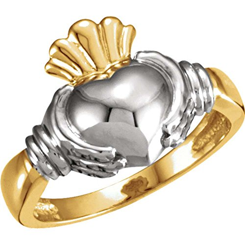 Ladies' Two-Tone Claddagh Duo Band in 14K Yellow and White Gold ( Size 6 (Claddagh Duo)