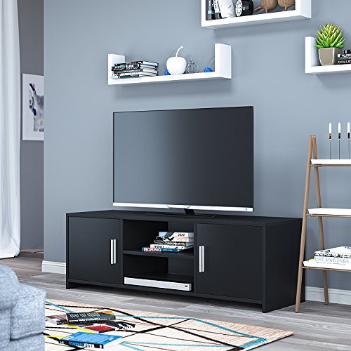HOMFA TV Stand Storage Console Entertainment Center Media Console Cabinet with 2 Doors Bins and 2 Shelves for Living Room Home, Black ()