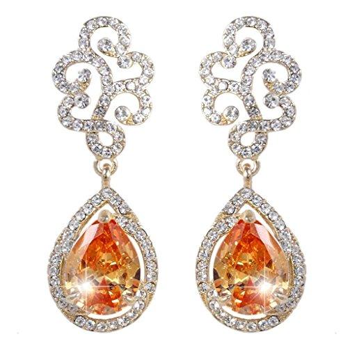 (EVER FAITH Crystal CZ Art Deco Wedding Lace Teardrop Dangle Earrings Citrine Color Gold-Tone)