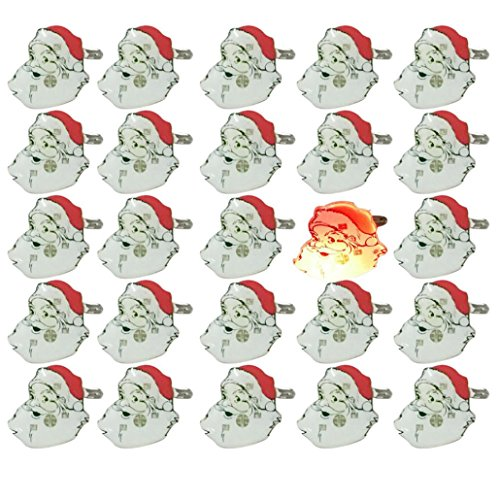 Iusun 25 Pcs Christmas Santa Claus Flashing LED Light Up Badge Brooch Pins Xmas Decoration (White,25Pcs)
