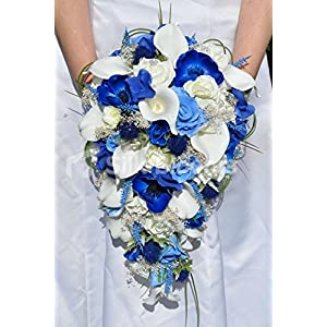 Striking Artificial Blue Anemone, Thistle and Hydrangea Bridal Bouquet with Ivory Callas and Roses 101