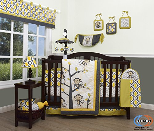Boutique Baby Monkey Go Happy 13 Pc Nursery Crib Bedding Set