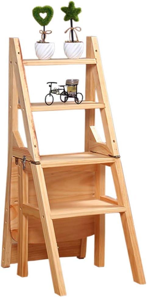 Plegable Taburete Escalera de Madera de 4 peldaños Multifunción Antideslizante Cocina Dormitorio Garaje Fácil de almacenar Estantería Plegable La Seguridad 46 × 31.5 × 90cm (Color Madera): Amazon.es: Hogar