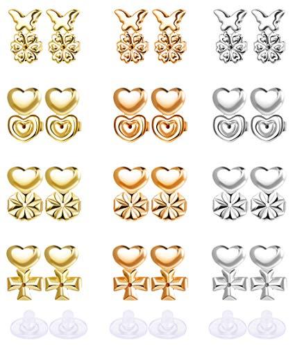 (Thunaraz 15Pairs Magic Earring Lifters for Women Girls Heavy Earring Backs Adjustable Lifts Ear Backs Lifters Upgraded)