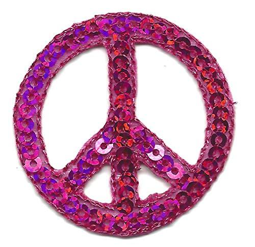 PINZ- Peace Sign Fuchsia Sequins (1 1/2