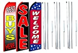 Best buys here sale Welcome King Swooper Feather Flag Sign Kit With Complete Hybrid Pole set- Pack of 3