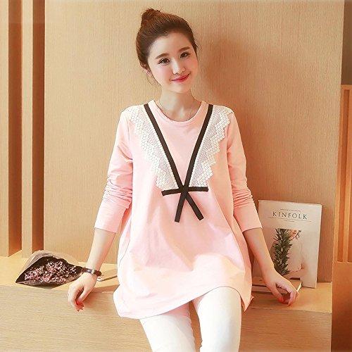 Scollo Maniche shirt In Allattamento Vestito Rosa T Donna Premaman V Con Di A Pizzo Moda Lunghe Lunga Bozevon Fg67qz
