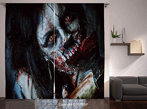 Thermal Insulated Blackout Window Curtain [ Zombie Decor,Scary Dead Woman with Bloody Axe Evil Fantasy Gothic Mystery Halloween Picture,Multicolor ] for Living Room Bedroom Dorm Room Classroom Kitchen -