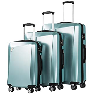 Coolife Luggage 3 Piece Sets PC+ABS Spinner Suitcase 20 inch 24 inch 28 inch