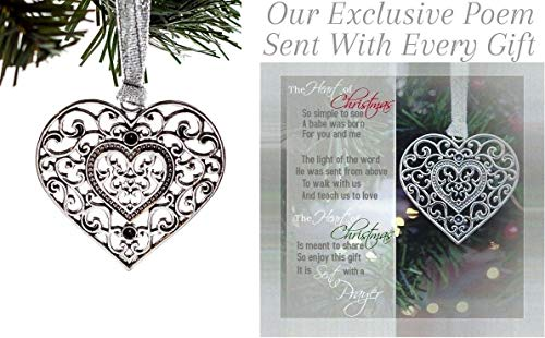 Loving Memories Beautiful Heart Christmas Ornament Unique for Present for Faithful Friends and Family with Christmas Card and Exclusive Poem (Poem Best Christmas Friend)