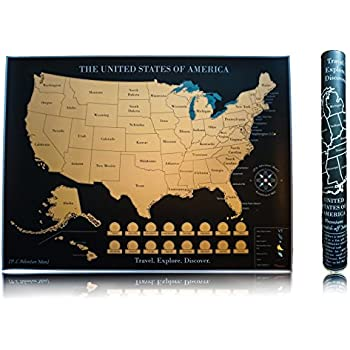 Amazon gift republic gr630004 bucket list poster 100 movies ps adventure more scratch off map of the united states 18 x 24 inches thick poster paper black gold foil 1 unit gumiabroncs Images