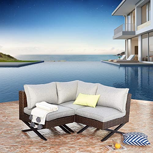 Festival Depot 3 Pieces Patio Conversation Set Sectional Corner Sofa Combination X-Shaped Legs Outdoor All-Weather Wicker Metal Armless Chair