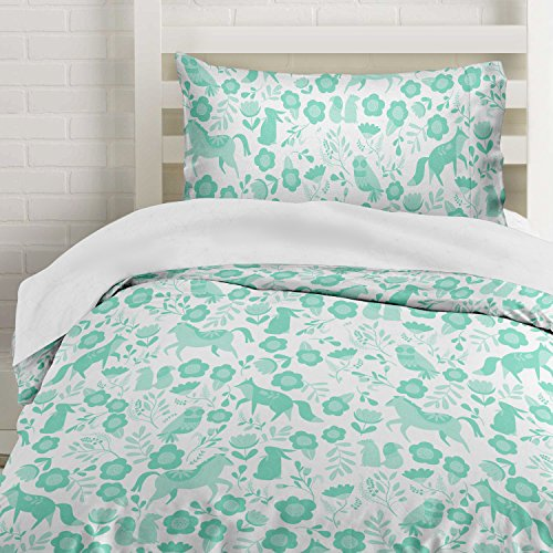 Seafoam Green Folktale Forest Animals Duvet Cover Twin Size Bedding, White and Teal Woodland Creatures by Where The Polka Dots Roam