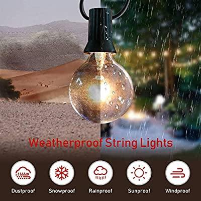 Grezea Outdoor Indoor Globe String Lights with 27 Clear G40 Light Bulbs, Perfect Decor/Commercial Lighting for Patio Backyard Garden Wedding Party Tent RV Bedroom Cafe Shop Bistro Market, Warm White