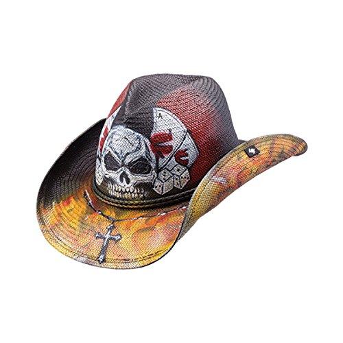 PETER GRIMM UNIQUE SILVER SKULL GAMBLING DRIFTER COWBOY HAT]()