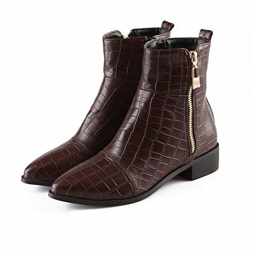 ... Sjarm Foten Kvinners Lav Hæl Ankel Boots Western Boots Brun ...