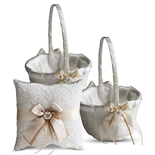 Roman Store Ivory Ring Bearer Pillow and Basket Set | Lace Collection | Flower Girl & Welcome Basket for Guest | Handmade Wedding Baskets & Pillows (Champagne) ()