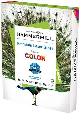 Hammermill Glossy Paper, Laser Gloss Copy Paper, 8.5 x 11 - 1 Pack (300 Sheets) - 94 Bright, Made in america Glossy Printer Paper