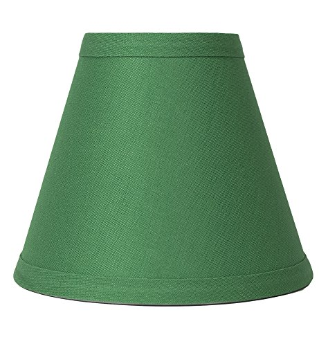 Urbanest Kelly Green Linen Chandelier Lamp Shade, 3-inch by 6-inch by 5-inch, Clip-on, Hardback